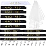 Bride Tribe Bachelorette Party Sash Set: 1 Bride To Be Sash, 11 Bride Tribe(Maid Of Honor Sash),1 wedding veil with comb, 13 Pcs Wedding Decorations Kit For Bridal Shower, Engagement Party Favors & Supplies (12 Sash with 1 veil)