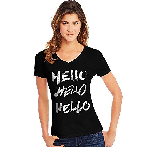 Hello Hanes Donna black Hello Camicia zYzPTrU