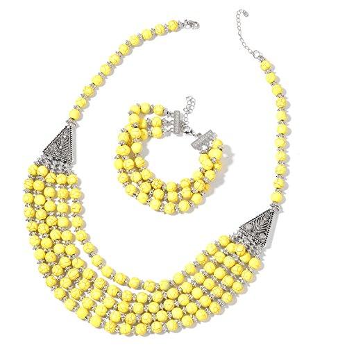 Beaded Set Yellow Jewelry (Yellow Howlite Beads Silvertone Bracelet 7.5