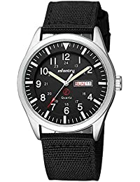 Mens Military Army Analog Watch Field Sport Wrist Watches for Men Nylon Strap Day & Date