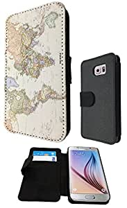 Cool Fun World Map The World Look 178 Design Samsung Galaxy S6 i9700 Fashion Trend Full Case / Book Style Flip cover Defender Credit Card Holder Pouch Case Cover iPhone Wallet