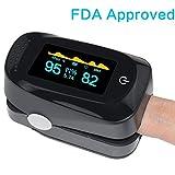 Asobilor Finger Pulse Oximeter 2018 Newest Portable Digital Blood Oxygen FDA Approved and Alarming SPO2 Pulse Sensor Meter with OLED for Adults and Children (Black)