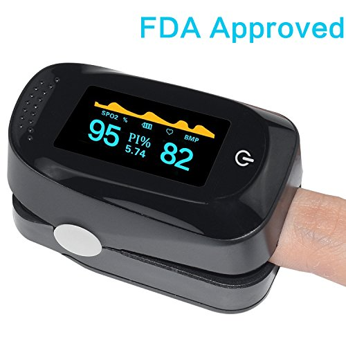 Fingertip Pulse Oximeter Portable Digital Blood Oxygen SPO2 Pulse Sensor Meter with Alarm and Pulse Rate Monitor for Adults and Children (Black) ()