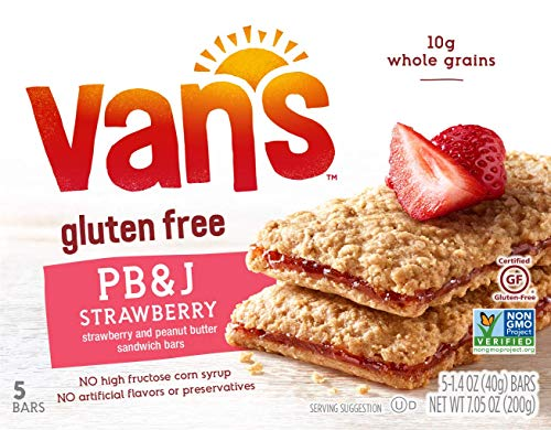 Van's, PB&J Strawberry and Peanut Butter Sandwich Bars, 5 Count