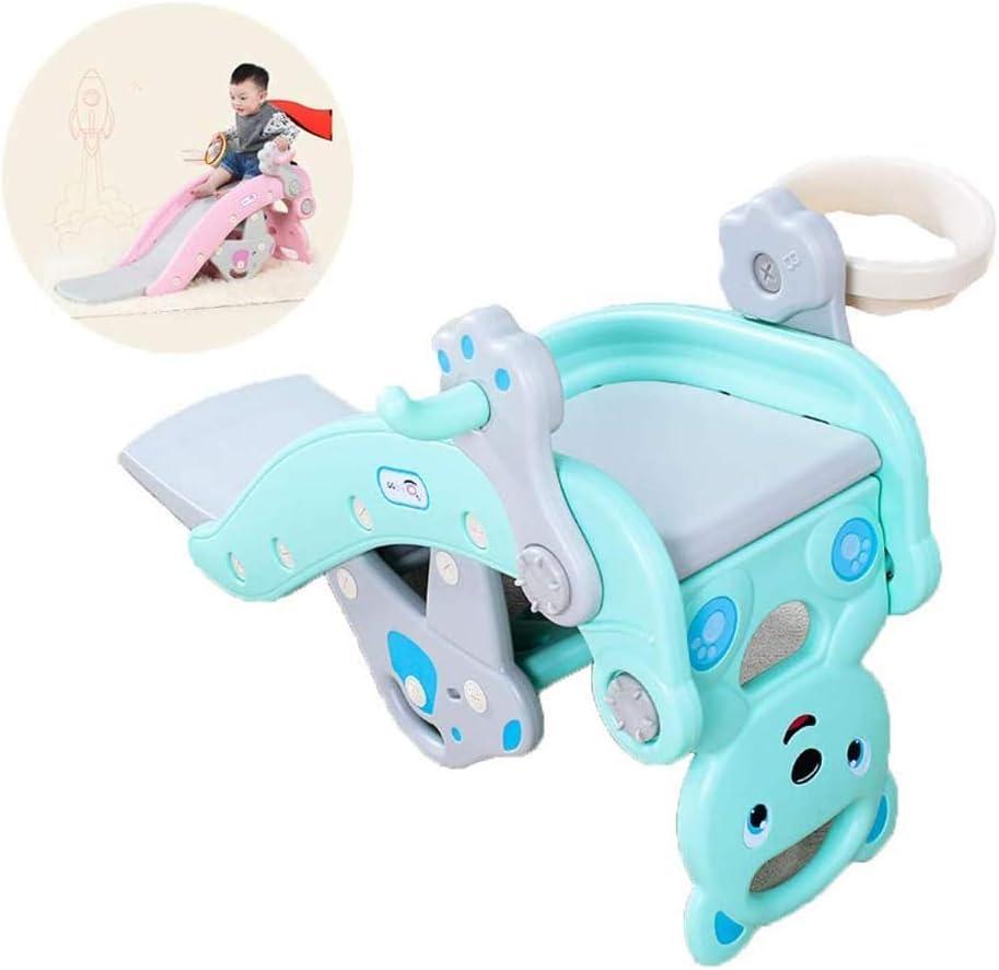 ZZAZXB El tobogán de Rocking Horse Combina para Niños, Juguete de Plástico Tiro Interior al Aire Libre Área de Juegos de Jardín, Adecuado para Niños de 1-6 años,Azul
