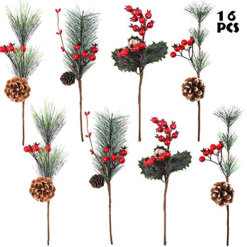 AGEOMET 16 Pack Christmas Pine Picks 11.8 Inch Artificial Pine Picks for Christmas Party Gift Home Decorations, 4 Styles