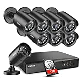 ANNKE Home Security Camera System 8 Channel 1080P Lite DVR and 8X 1080P HD Outdoor IP66 Weatherproof CCTV Cameras, Smart Playback, Instant Email Alert with Images, 1TB Hard Drive Included