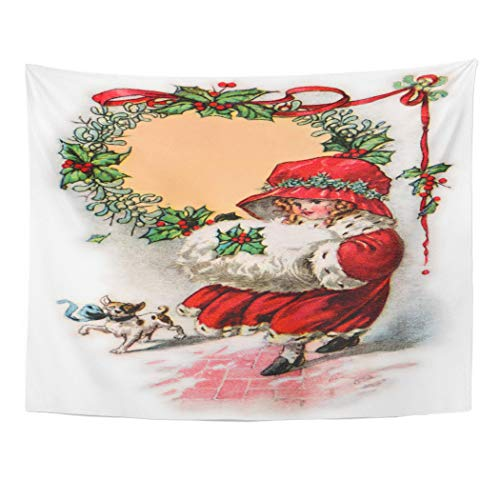 Emvency Wall Tapestry Red Old Little Girl in Christmas Bonnet Muffler 1916 Vintage Antique Wreath Ribbon Decor Wall Hanging Picnic Bedsheet Blanket 60x50 Inches