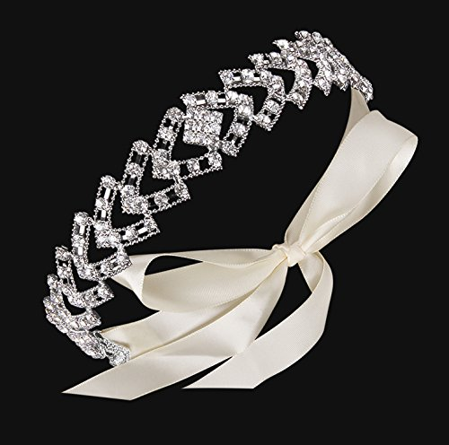BABEYOND Crystal Bridal Headband Headpiece Wedding Headpiece for Bride Wedding Bridal Hair Accessories with Ivory Satin Ribbon Silver Tone