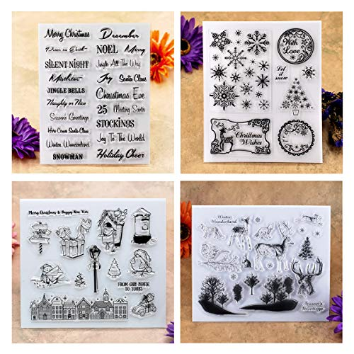 Kwan Crafts 4 Sheets Different Style Christmas Deer Clear Stamps for Card Making Decoration and DIY Scrapbooking