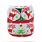 LBB(TM) Baby Resuable Washable Cloth Pocket Diaper,New Print Design for Christmas ,Red Reindeer and snowflake