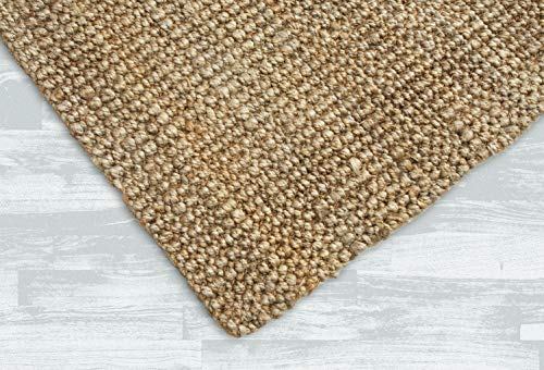 Iron Gate Handspun Jute Area Rug 4x6 Hand Woven by Skilled Artisans, 100% Natural Jute Yarns, Thick Ribbed Construction, Reversible for Double The wear, Rug pad Recommended (Sisal Rug Outdoor)