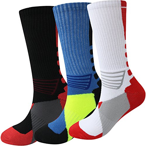 Thsbird Mens Athletic Cushion Performance Hiking Socks for Running Cycling Sports Pack of 3