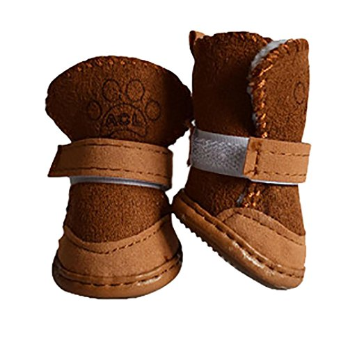 WILLTOO Dog Boots Paw Protectors Anti-Slip Durable Dog Shoes for Small and Medium Dogs (S, khaki)
