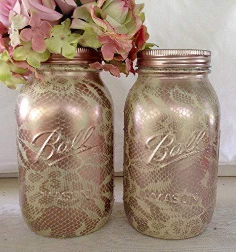 Amazon Com Set Of 2 Ivory And Rose Gold Painted Glass Mason Jar