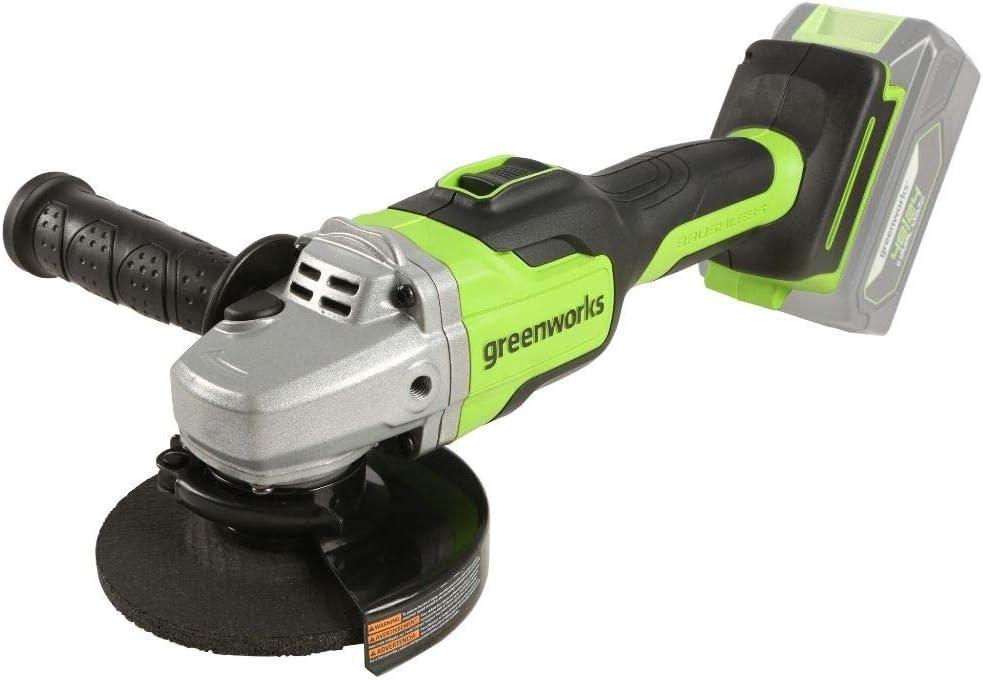 Greenworks Amoladora angular inalámbrico GD24SAG (Li-Ion 24 V 10.500 rpm 125 mm diámetro disco 28 mm profundidad corte potente motor sin escobillas sin batería ni cargador)