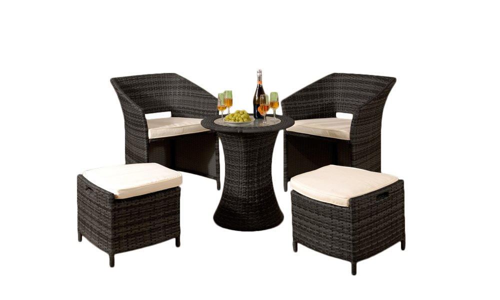 Comfy Living 5 Piece Rattan Outdoor Garden Patio Furniture Set - 2 Chairs, 2 Stools & Coffee Table (Without Cover, Black)