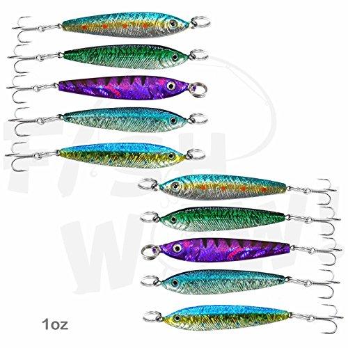 Fish WOW! 10pcs 1oz Fish Mega Live Metal Bait Jig with a Treble Hook 5-Color Set