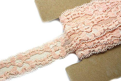 JLIKA Stretch Lace Elastic - 12 Yards - 1 Inch Wide - Trim Lace for Headbands Weddings (Peach)