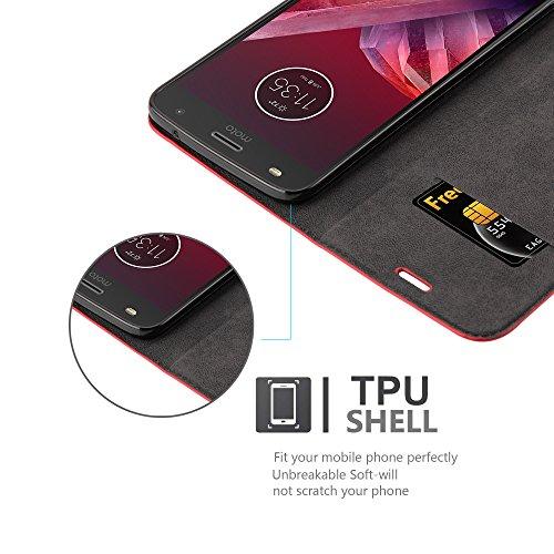 Cadorabo - Funda Book Style Cuero Sintético en Diseño Libro para >                                          Lenovo (Motorola) MOTO Z2 PLAY                                          < �?Etui Case Cover Carcasa Caja Protección con Imán Invisible en ROJO-MANZANA