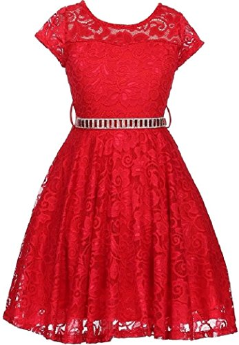Big Girl Cap Sleeve Lace Skater Stone Belt Flower Girls Dresses (19JK88S) Red 16 -
