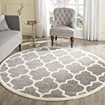 Safavieh Amherst Collection AMT420R Dark Grey and Beige Indoor/ Outdoor Round Area Rug (5 Diameter)