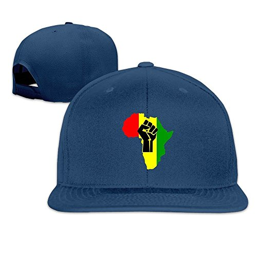 QWERT Unisex Black Power Fist Pan Africa Flat Billed Cap Baseball-caps 1 Size ColorKey