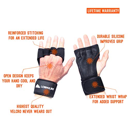 LEBBOULDER Cross Training Gloves with Wrist Support for WODs,Gym Workout,Weightlifting & Fitness-Silicone Padding, No Calluses-Suits Men & Women-Weight Lifting Gloves for a Strong Grip, Black, Large