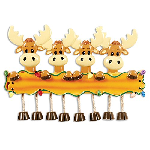 Personalized Moose Family of 4 Christmas Tree Ornament 2019 - Parent Friend Deer Elks Hold Wood Sign Glitter Light Dangle Feet Tradition Kid Grand-Children Year - Free Customization