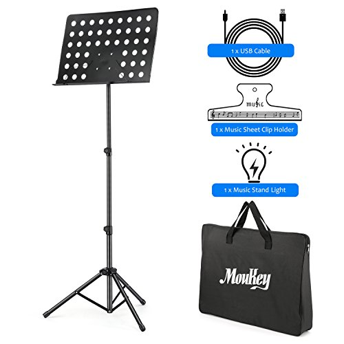 (Moukey MMS-2 Metal Adjustable Sheet Music Stand Portable With Music Stand Light Carrying Bag Black)