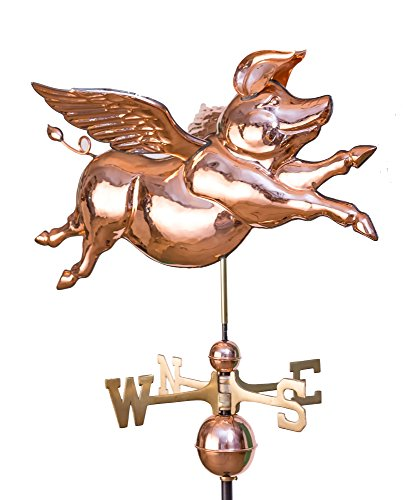 East Coast Weathervanes and Cupolas Classic Flying Pig Weathervane Polished -