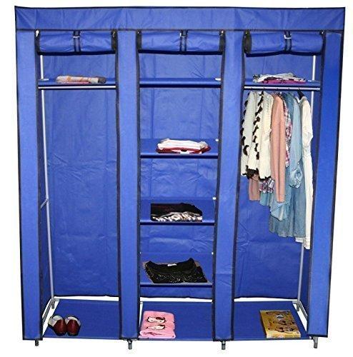 Teprovo - Armario plegable, perchero ropero con 9 baldas 150 x 45 x 175 cm en 4 colores - Tela, Azul