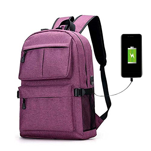 Laptop Backpack, Clothink College School Backpack with USB Charging Port, Lightweight Casual Travel Bag For Men Women, Fit 15.6 Inch Laptops & Tablets, - Backpack Built Laptop
