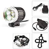 SecurityIng 4 Modes 1800Lm Waterproof Headlight 3 X CREE XM-L T6 LED Headlamp and Bicycle Light + 8.4V 4400mAh Battery Pack + Charger for Outdoor Hiking, Riding, Camping, Cycling
