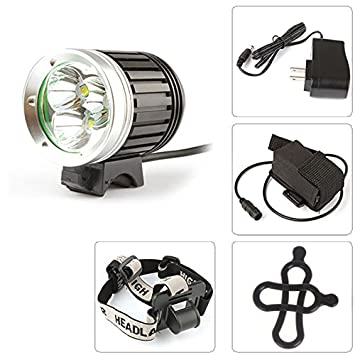 SecurityIng 4 Modes 1800Lm Waterproof Headlight 3 X CREE XM-L T6 LED Headlamp and Bicycle Light 8.4V 4400mAh Battery Pack Charger for Outdoor Hiking, Riding, Camping, Cycling