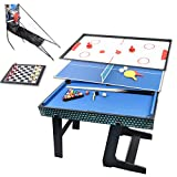 Win.max 3.5Ft Deluxe 5 in 1 Top Game Table Folding Table-Table Tennis,Glide Hockey,Chess,Pool,Basketball Set