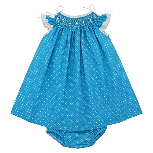 Marakitas Baby & Toddler Girl Spanish Style Handmade Smocked Embroidery Short Sleeve Angel Dress (Blue with White Polka Dots, 24 months/2T) (Spanish Dots)