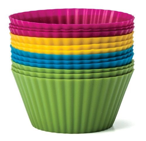 (Case) Baking Essentials Silicone Baking Cups, 12 Sets of 12 Reusable Cupcake Liners in Four Colors - USE for Muffin, Gelatin, Snacks, Frozen Treats, Ice Cream or Chocolate Shell-lined Dessert Molds