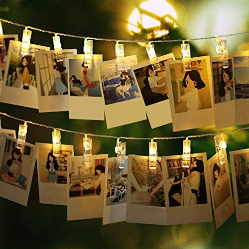 40 LED Photo Clip String Lights Battery Powered Fairy Twinkle Lights, Wedding Party Christmas Home Decor Lights for Hanging Photos, Cards and Artwork (16Ft,Warm White) by JIJIC
