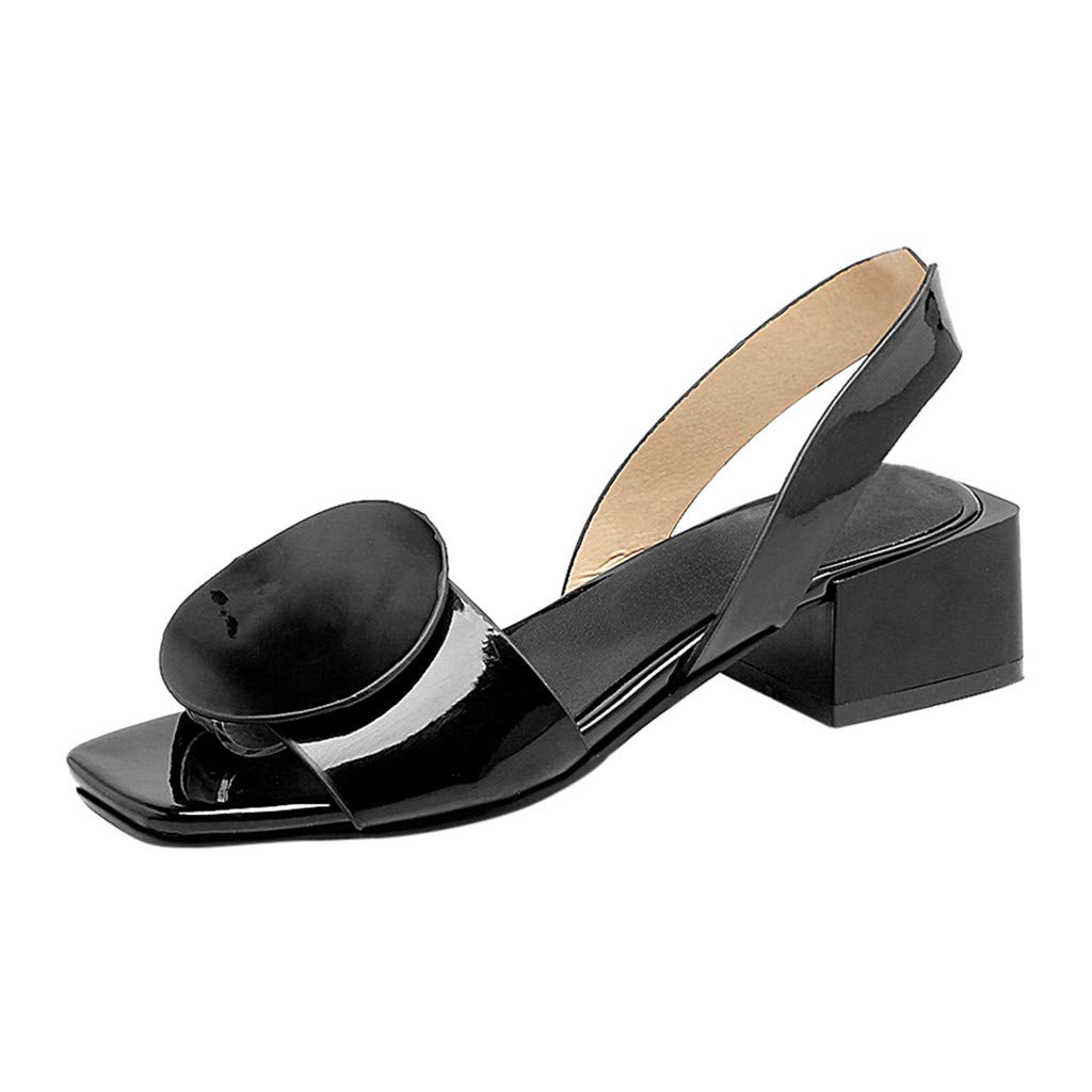 Low Wedge Sandals for Women,SMALLE◕‿◕ Women's Summer Fashion Design Ankle Strap Slip-On Platform Heel Sandals Shoes Black
