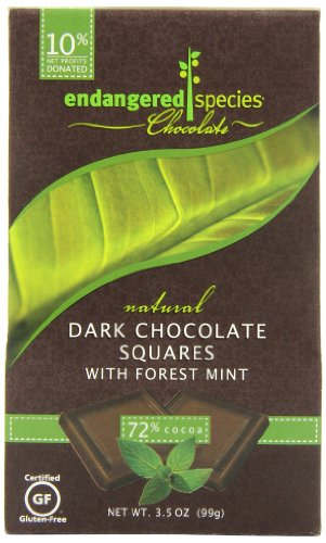 Endangered Species Rainforest, Natural Dark Chocolate (72%) with Forest Mint, 10-Count Individually Wrapped Pieces (Pack of 6)