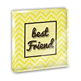 Best Friend on a Chevron Pattern Acrylic Office Mini Desk Plaque Ornament Paperweight