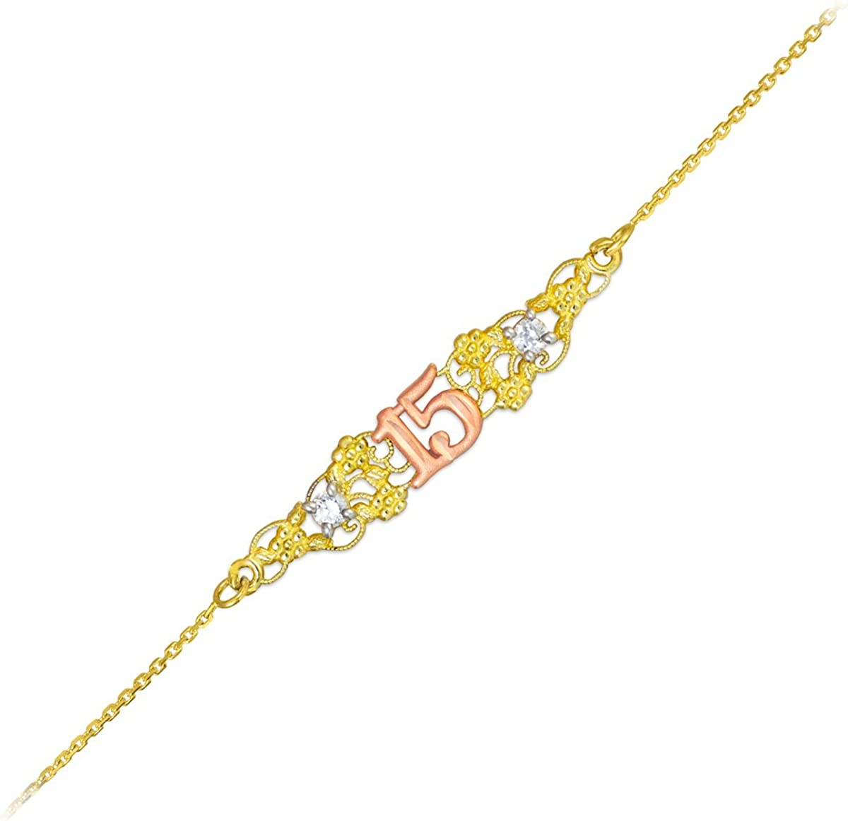 14k Tri-Color Gold Sweet 15 Anos Quinceanera Bracelet 7 With 0.5 Extension 7 With 0.5 Extension Calddagh Gold B689