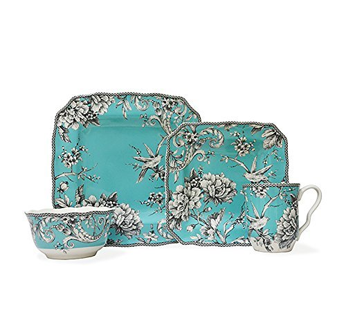 222 Fifth Adelaide Turquoise 16 Piece Dinnerware Set