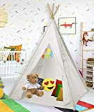 Cotton Canvas White Kids Teepee Tent | Tipi Tents Indoor Outdoor | Play Tent Foldable 5 Feet Tall - 4 Poles | Customizable Cotton Tent | Large Childrens Teepee Tents for Girls and Boys Kids Teepee
