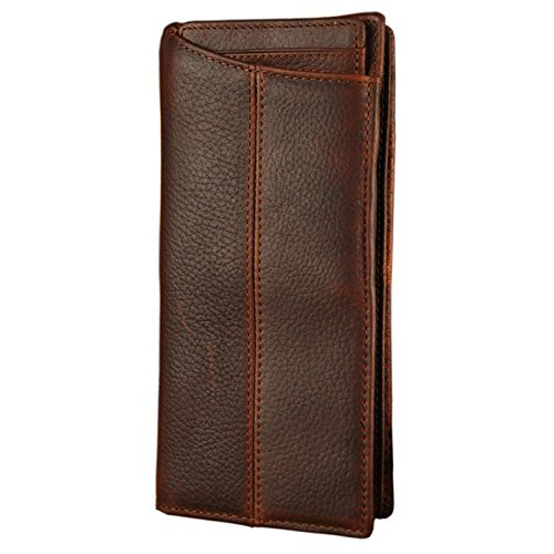 Leather Checkbook Organizer (Le'aokuu Mens Genuine Leather Bifold Wallet Organizer Checkbook Card Case (Light Brown 3))
