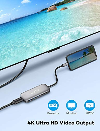 HooToo USB C Hub, 6 in 1 USB C Adapter, USB C Dongle with 4K to HDMI, 100W PD Charging Port, 3 USB 3.0 Ports, SD Card Reader, USB-C Hub for MacBook Pro, iPad Pro, XPS More Type C Devices