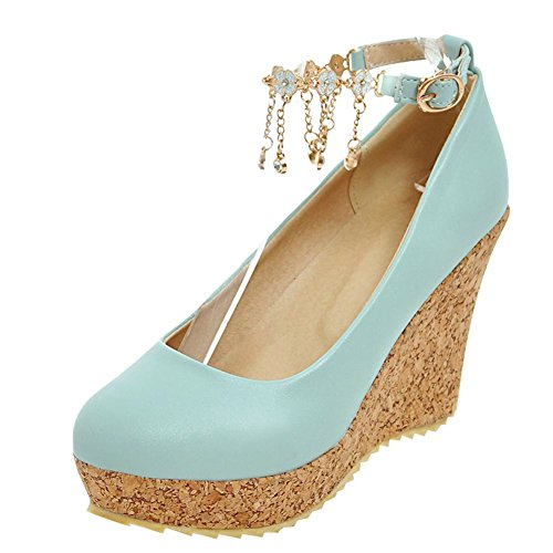 Mee Shoes Damen Keilabsatz Ankle Strap Quasten Pumps Blau