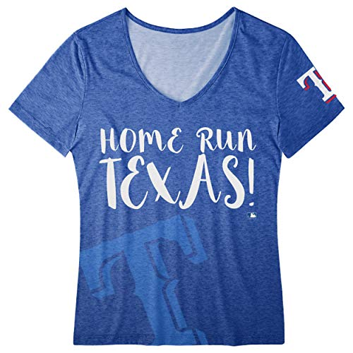 (FOCO MLB Women's Home Run V-Neck Tee, Texas Rangers Large)