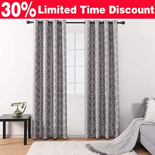 Jarl home Jacquard Lattice Print Curtains for Living Room Curtain Elegant Comfort Polyester Textured Grommet Lattice Window Curtain Set for Bedroom - Gray(52